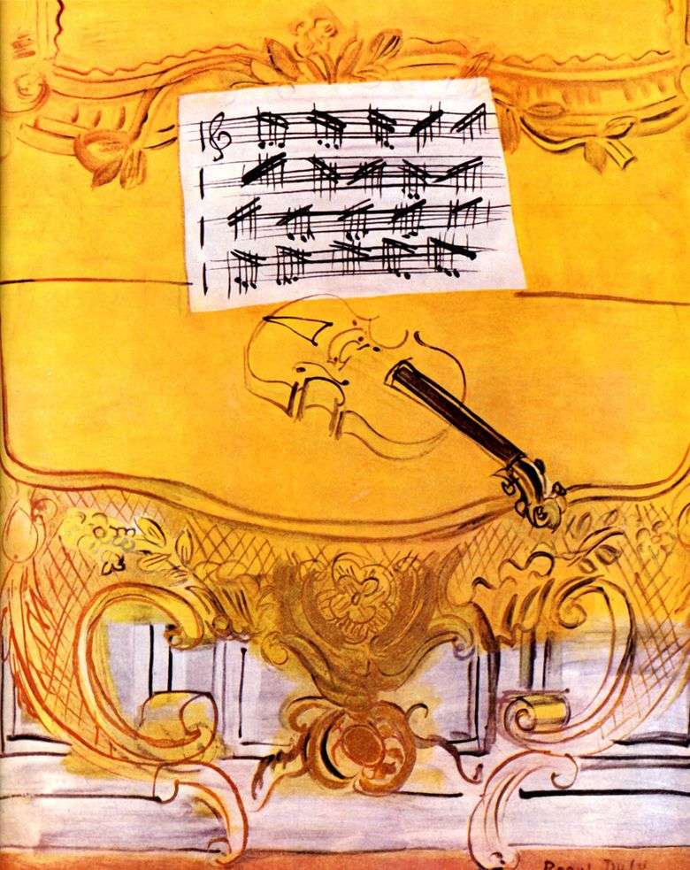 Yellow Harmonium with Violin   Raoul Dufy