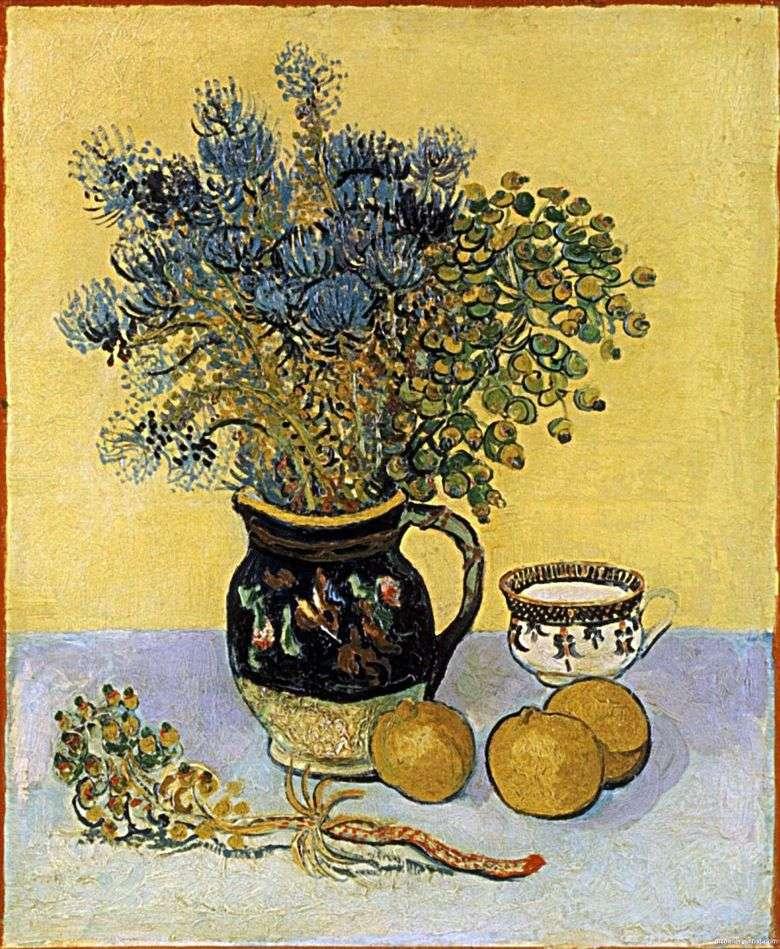 Martwa Natura Dzbanek W Stylu Majoliki Z Kwiatami Vincent Van Gogh Van Gogh Vincent