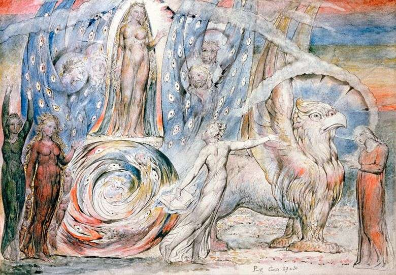 Beatrice zwraca się do Dantego z rydwanami   William Blake